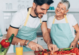 Mother and Son have a common bond in the kitchen