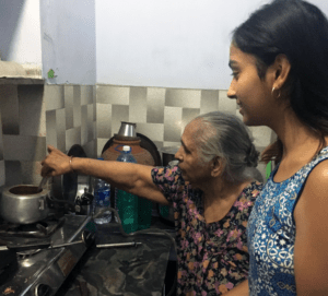 Indian Grandmother Teaches a grand daughter
